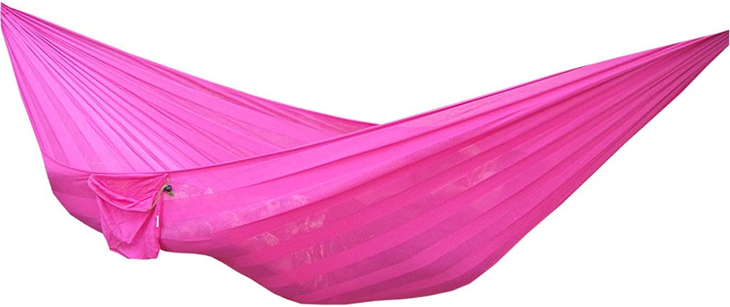 YQRYP Hammock Hammock, Ice Silk Mesh Nylon, Double Widened Camping Swing Chair, Multi-color Optional, 230  160cm Hiking,Travel,Beach,Yard,Camping,Outdoor,Garden (color   Pink)