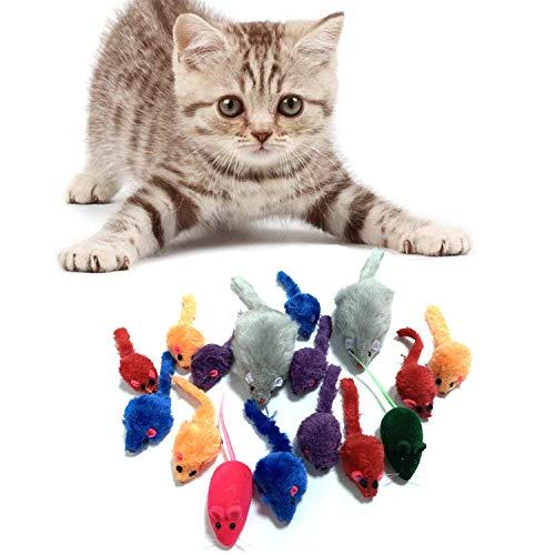 PietyPet Topi Giocattoli per Gatti, Topo Falso Giochi con Sonagli per Gattino Kitten, 16 Pezzi, Multicolore, 3 Diversi Dimensioni