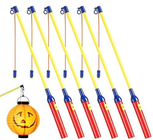 theefun Laternenstab mit Led für St Martin, 6 Pack LED Elektrischer Laternenstab für Kinderpartys, Kindergarten, Kostümpartys, Halloween und Weihnachten, Laternen-Umzug