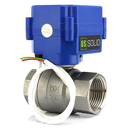 Normalmente Abierta U.S 2 Cables Solid 1 V/álvula Motorizada 9-24V AC//DC 2 Vias acero inoxidable V/álvula de bola electrica Regreso Automatico puerto est/ándar