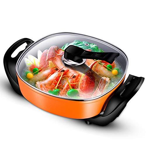 ZNSBH huishoudelijke elektrische wok-multifunctionele elektrische pan roerpan temperatuurregeling anti-aanbaklaag hete pan met gehard glazen deksel 5,5 l, 1600 W, oranje