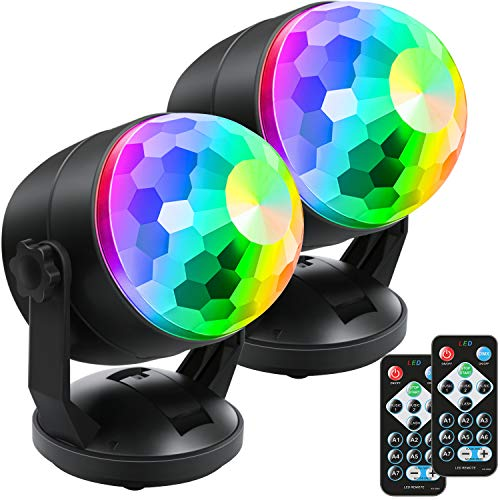 [2-Pack] Portable Sound Activated Party Lights for Outdoor and Indoor