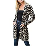 Photo de Women Cardigan Leopard Print Coat Fashion Long Sleeves Smock Blouses Loose Outdoor Coat par