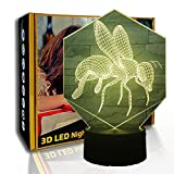 KangYD 3D Luz nocturna Industrious Bees, lámpara de ilusión LED, decoración del hogar, E- Base para despertador (7 colores), Luces decorativas, LED táctil