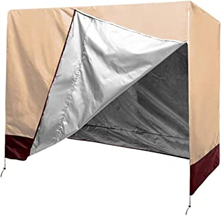 QEES Patio Swing Cover, Lightweight & Durable 3 Triple Seater Hammock Glider Cover, Glider Canopy Cover, Porch Swing Cover, Patio Furniture Cover Waterproof JJZ151 (Beige 1)