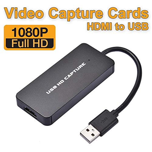 Dream-cool Audio Video Capture Cards, HDMI to USB 2.0 1080p Game Capture Adapter Live Streaming Device for Live Broadcasts/Game/Video