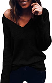 Holzkary Women's Casual Pure Color V-Neck Knitted Shirt Pullover Loose Long Sleeve Sweater Jumper Tops