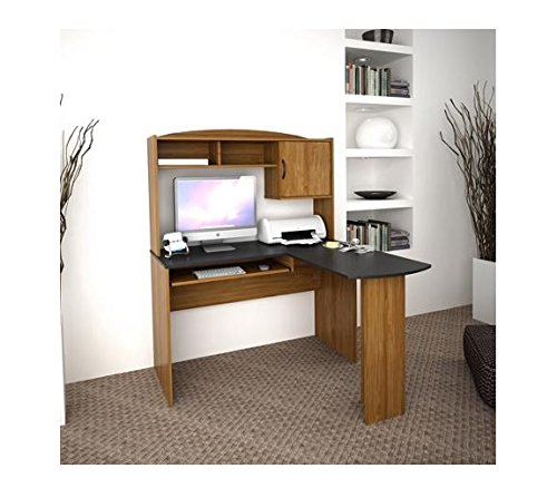 Corner L-shaped Desk with Hutch, Black and Cherry Office Computer Table Study