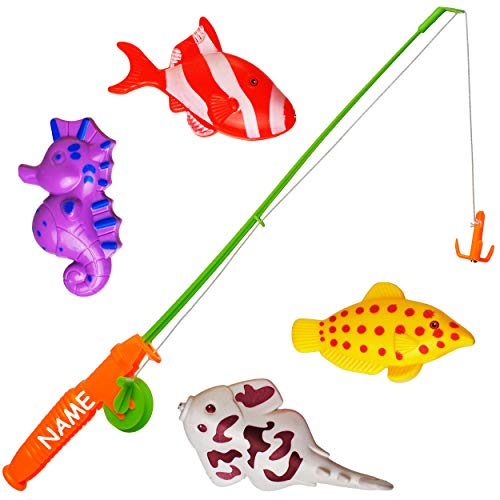 2 * 5 TLG. Set _ großes Magnet - Angelspiel - WASSERFEST -  mit 4 großen Fischen  - inkl. Name - drehbare + magnetische Angel - für Kinder - Angeln - Badewa..