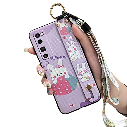 Cute Lulumi Phone Case Compatible with Huawei Nova7 Pro, Design Protective Stand cover for Woman Durable Cartoon Wrist Strap for Girls Bumper Neck Strap Phone Holder, Purple Rabbit