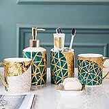 Juego de accesorios de baño de 5 piezas dispensador de jabón de cerámica taza de enjuague bucal jabonera, cepillo de dientes, artículos de tocador Set de regalo Encimera