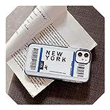 New York Los Angeles Paris Tokyo City Label - Carcasa para iPhone X XS MAX 11 Pro XR 7 8 Plus funda para billetes de avión de viaje, Nueva York para iPhone 7Plus
