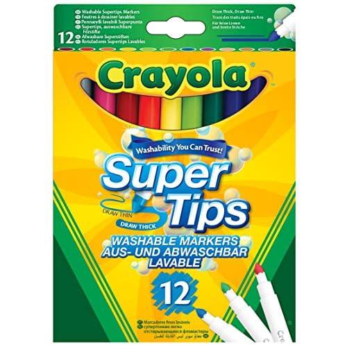 Crayola - Super Tips, Pennarelli Lavabili Punta Media, Confezione da 12 Pezzi, per Scuola e Tempo Libero, per Lavori di Lettering Creativo, Scrittura a Mano, Calligrafia, Colori Assortiti, 7509
