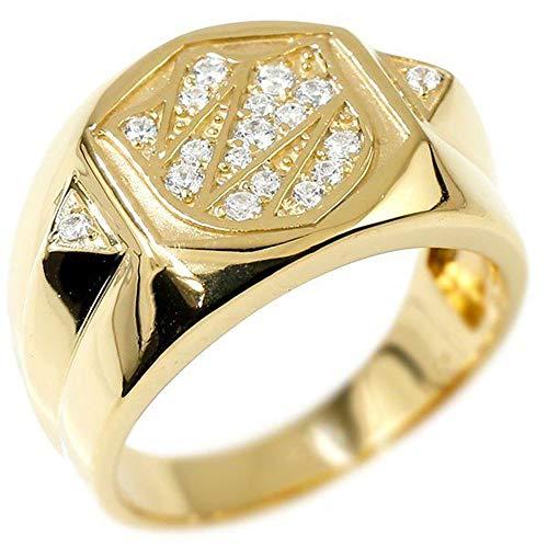[アトラス] Atrus リング メンズ イエローゴールドk10 キュービックジルコニア シールド 幅広 印台 指輪 ピンキーリング 11号