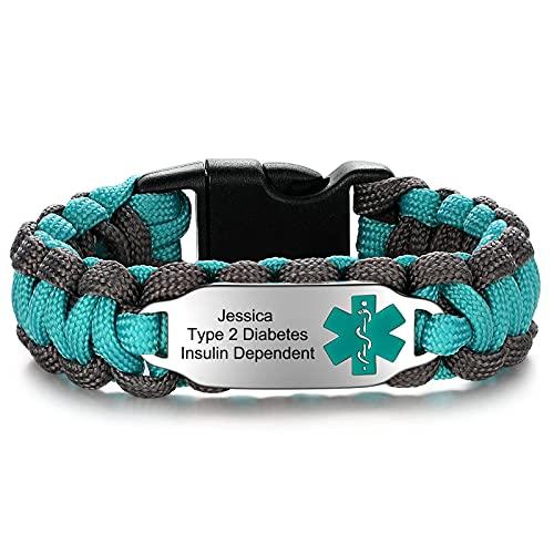 JF.JEWELRY Medical Alert Bracelet for Women Customizable Engraving Medical Alert ID Bracelet   Handmade Parachute Cord Braided Medic Alert Bracelets (Gray Green 7.5 Inches)