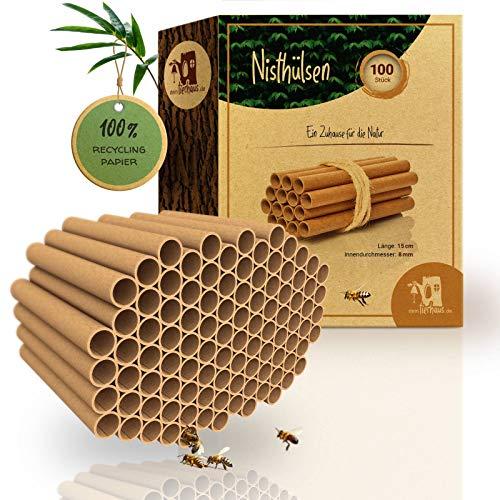 bambuswald© 100 Nisthülsen mit Ø 10mm | 15cm Länge für Wildbienen - 100% ökologische Pappröhrchen für Insektenhotel, Niströhren & Bruthülsen als Füllmaterial für Bienenhotel