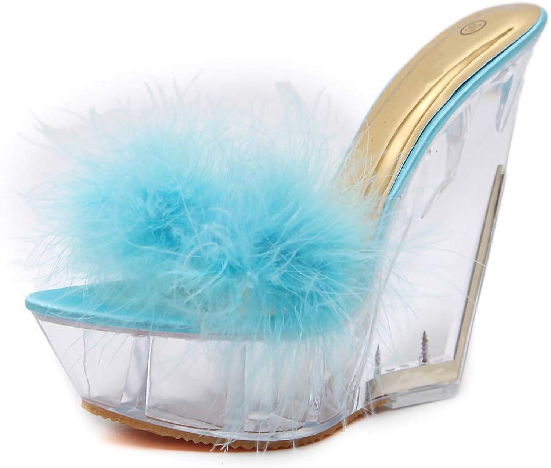 Women Transparent Crystal Heel Sandals, Summer Feather Platform High Heels shoes Fashion Wedges Slippers Ladies,bluee,6MUS