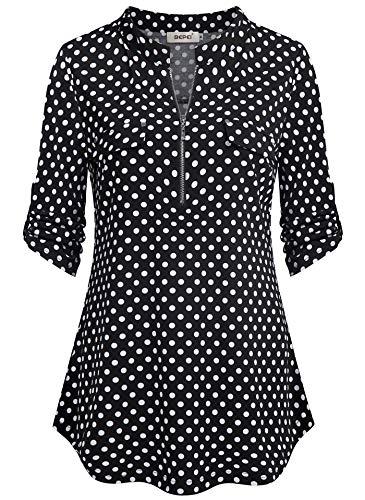 BEPEI - Blusas florales de chifón para mujer, manga 3/4 con cremallera y cuello en V, Moderno / Equipada, XL, negro, blanco, (black white dot)