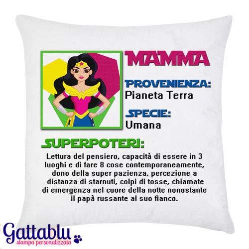 Federa per cuscino con stampa Superpoteri di Mamma! Divertente idea regalo per la festa della mamma!