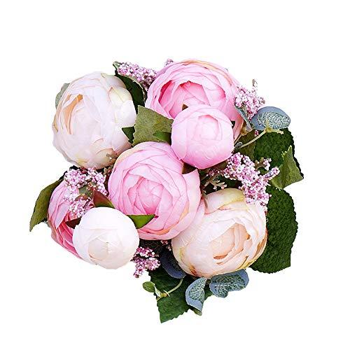 Momangel 1 Ramo de Flores Artificiales de Camelia Falsa para decoración de Fiestas y Bodas, Tela, Rosa, 32 cm