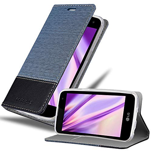 Cadorabo Custodia Libro per LG K4 2016 in Azzurro Scuro Nero - con Vani di Carte, Funzione Stand e Chiusura Magnetica - Portafoglio Cover Case Wallet Book Etui Protezione