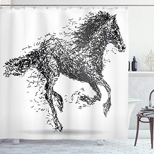 ABAKUHAUS Modern Duschvorhang, Animal Sketchy Pferd, Moderner Digitaldruck mit 12 Haken auf Stoff Wasser & Bakterie Resistent, 175 x 220 cm, Schwarz-weiß