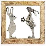 com-four® Coniglietti Deco Premium - Due Coniglietti di Metallo in Una Cornice di Legno Mongo - Coniglietti pasquali di Metallo da Appendere per Pasqua e Primavera (01 Pezzo - Conigli nel Telaio)