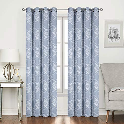 Home Beyond Jacquard Room Darkening Curtains with Grommets, Thermal Insulated Noise Reducing Window Treatment Curtains for Living Room Bedroom - 52 x 96 Inch(Set of 2 Panels, Blue and White Pattern)