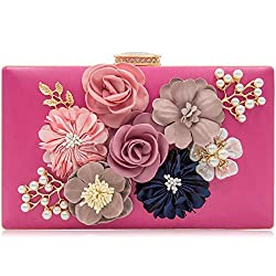 Floral Fuschia Clutch With Pearls and Rhinestones Purse