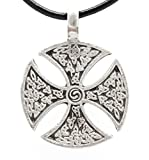 Trilogy Jewelry Pewter Iron Cross Celtic Templar Knight Pendant on Black Necklace Cord with Clasp