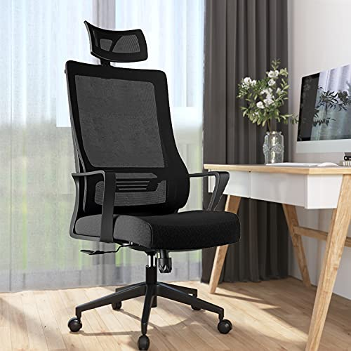 Ergonomic Office Chair Clearance,Mimoglad High Back Mesh Desk Chair with Adjustable Headrest, Height Adjustable Task Chair, Durable Cushion and Fabric Computer Chair for Home Office