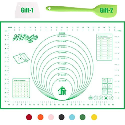 Nifogo Silikonmatte Silikon Backmatte Baking Mat BPA frei Nonstick mit Messungen Fondant Teig Gebäck Backmatte, 60 * 40cm(Grün)