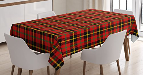 Ambesonne Retro Tablecloth, Traditional Scottish Tartan Pattern with Classic Symmetric and Vintage Checkered Striped Tile Art, Rectangular Table Cover for Dining Room Kitchen Decor, 60
