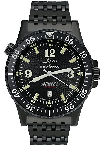 Xezo Herren Armbanduhr Air Commando Japanese-Automatic Diver 's d45-bl
