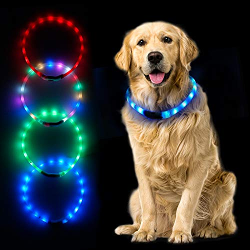 MUMUPET LED Dog Collar, 4 Colors USB Dog Collar, Light Up Collar Improved Pet Safety & Visibility at Night, 3 Flashing Modes, Water-Resistant Lighted Collar Fits for Small Medium Large Dogs