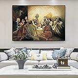YL–wallart Póster de Arte 50x70cm sin Marco Da Vinci Famosa Pintura al óleo La última Cena Jesús religioso en Lienzo Cuadro de Pared para decoración de Sala de Estar