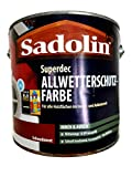 Sadolin Superdec Peinture de protection contre les intempéries Intérieur & Extérieur satiné Rouge suédois 2,5 l