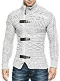Hestenve Mens Cable Knitted Cardigan Sweater Turtleneck Long Sleeve Zipper Winter Sweaters Grey