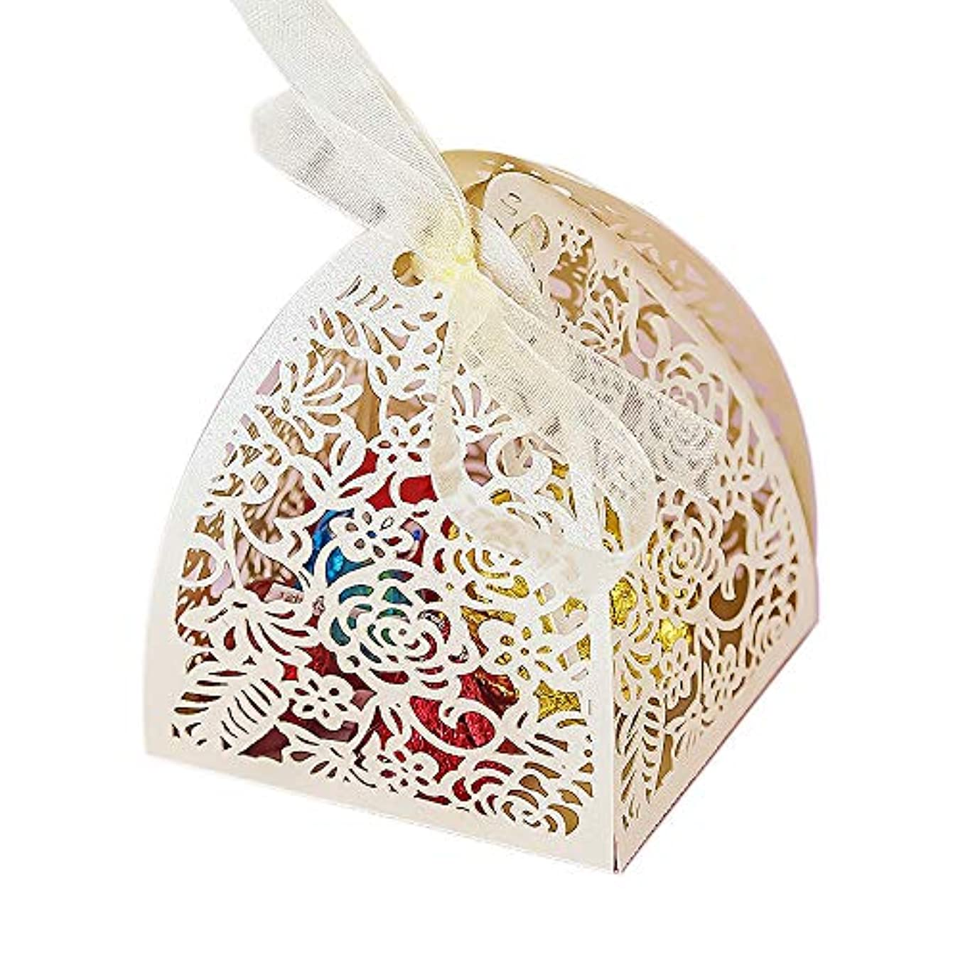 YOZATIA 50pcs Laser Cut Rose Gift Boxes with 50 Ribbons, 2.6''x2.6''x2.8'' Favor Boxes for 16 Birthday Party Wedding Favor (Ivory) n4644024707