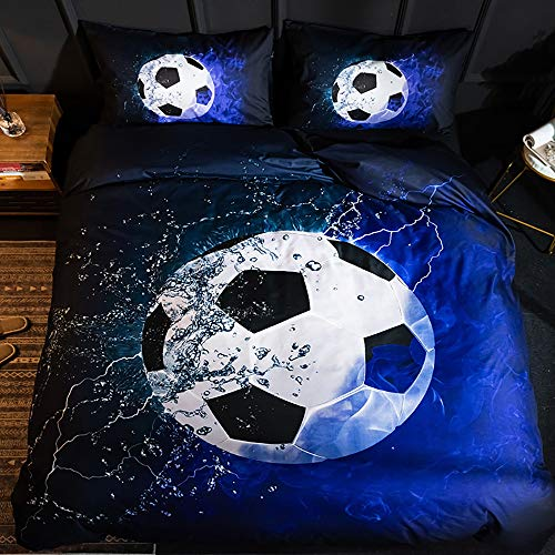 Langde Duvet Cover Set Football Printed Blue Flame Nordic Quilt Cover, King Size with 2 Pillowcases, Easy Care Microfibre Soft Sport Bedding Set