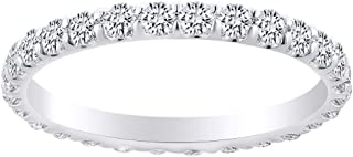 1.00 Carat Round Shape White Natural Diamond Eternity Wedding Band Ring 18K Solid Gold