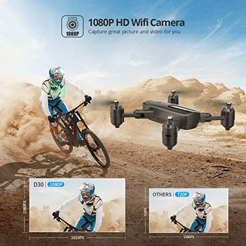 DEERC D30 Foldable Drone with 1080P FPV HD Camera for Adults, RC Quadcopter with Tap Fly, Gesture Control, Altitude Hold…