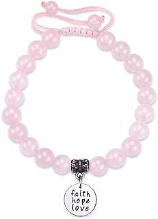 Jeka Inspirational Message Rose Quartz Bracelet for Women Girls Healing Energy Encouragement Quote Charm Natural 8mm Pink Crystal Adjustable Jewelry