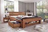 moebelstore24 Bett Futonbett Kernbuche-massiv geölt 140x200 cm inkl. 4 Bettkasten auf Rollen und Fußteilregal Sofie - 4