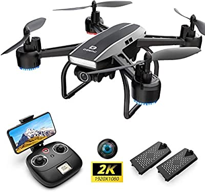 DEERC D50 Drone for Adults with 2K UHD Camera FPV 120° FOV 1080P Live Video, Tap Fly, Altitude Hold, Headless Mode, Gesture Control, 4 Speed Mode, Gravity Sensor, RC Quadcopter with 2 Batteries from Deerc