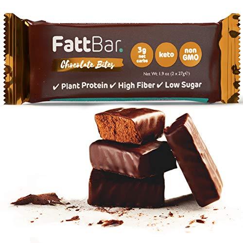FattBar Keto Super Fats Chocolate Bites (3-Pack) | Natural and Delicious Keto Snacks | Low Net Carb, High Fiber, Low Sugar, Keto, Gluten Free, Sweetener Free, Vegan, Non-GMO | 1.9 ounce each
