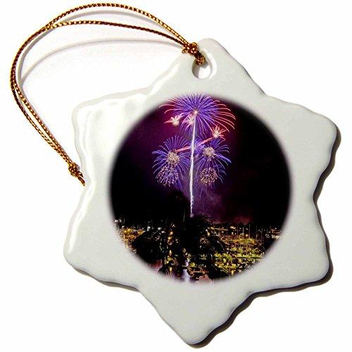 3dRose July 4Th Holiday Fireworks, Oahu, Hawaii-Us12 Dpb2140-Douglas Peebles Snowflake Ornament, Multi-Colour, 3-Inch