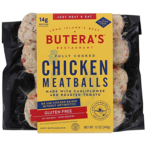 Butera's Gluten Free Chicken Meatballs made with Cauliflower & Roasted Tomato, 12 Oz. (12 Fully Cooked Meatballs)