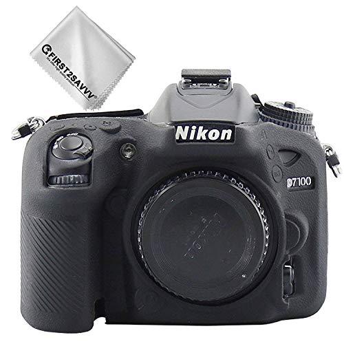 First2savvv Negro Cuerpo Completo Caucho de TPU Funda Estuche Silicona para cámara para Nikon D7200 D7100 XJT-D7200-GJWL-01G11