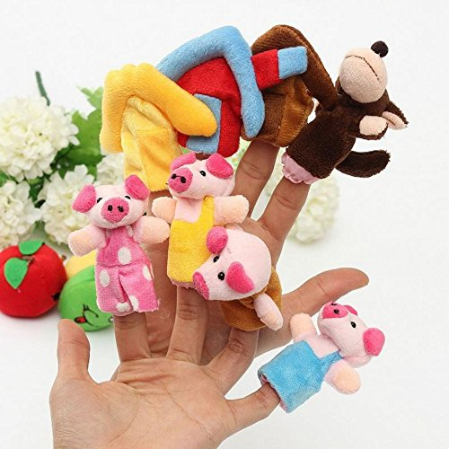 XKMY Mascotas Marionetas de Mano 8 unids/set Animal Dedo Marionetas 3 Cerdos Pequeños Tale Mano Títere Peluche Juguete de Dibujos Animados Lindo Boll Niños Regalo Decoración de Juguete